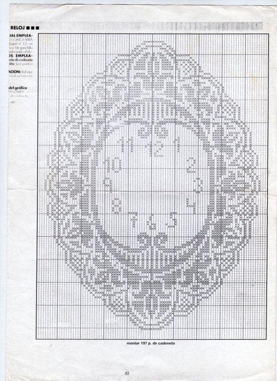 Reloj crochet | Flor | Pinterest | Crochet, Filet crochet y Cross Stitch