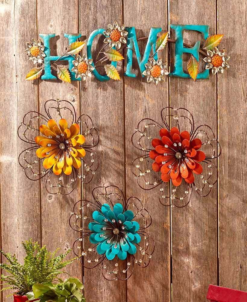 Floral Metal Wall Art Garden Sculptures Flower or Word Home Select ...