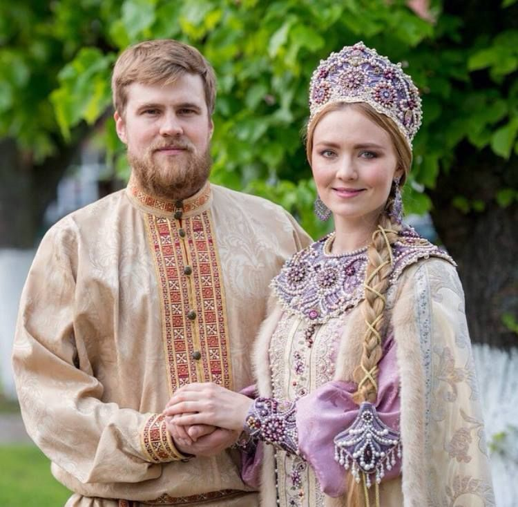 Russian Wedding Photos: Russian Wedding In Traditional Costume. Bride And