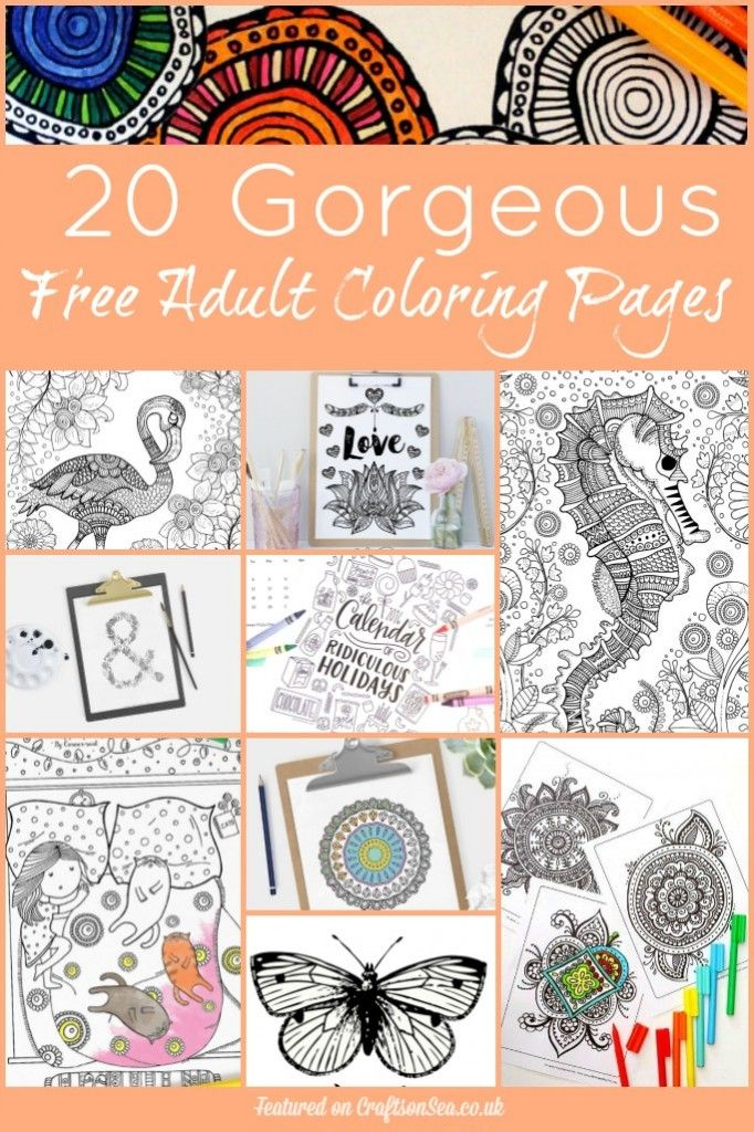 20 Free Printable Adult Coloring Pages  Adult coloring Free