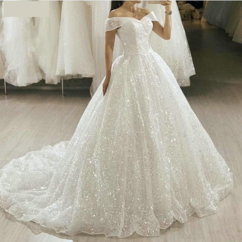 Glitter White Wedding Dress Sequin Bling Bridal Princess Ball Gown