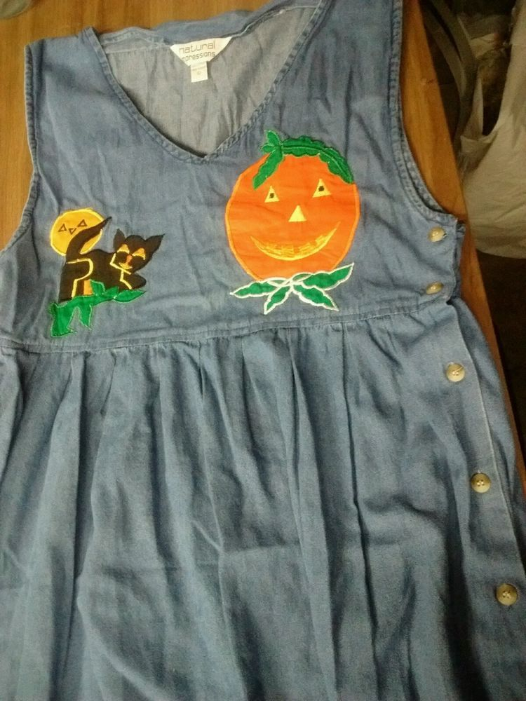 Womens Denim Tank Dress Large with Halloween Decor  #Dress