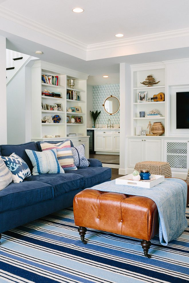 Best Blue Striped Rug With Indigo Sofa Living Room With Blue 400 x 300