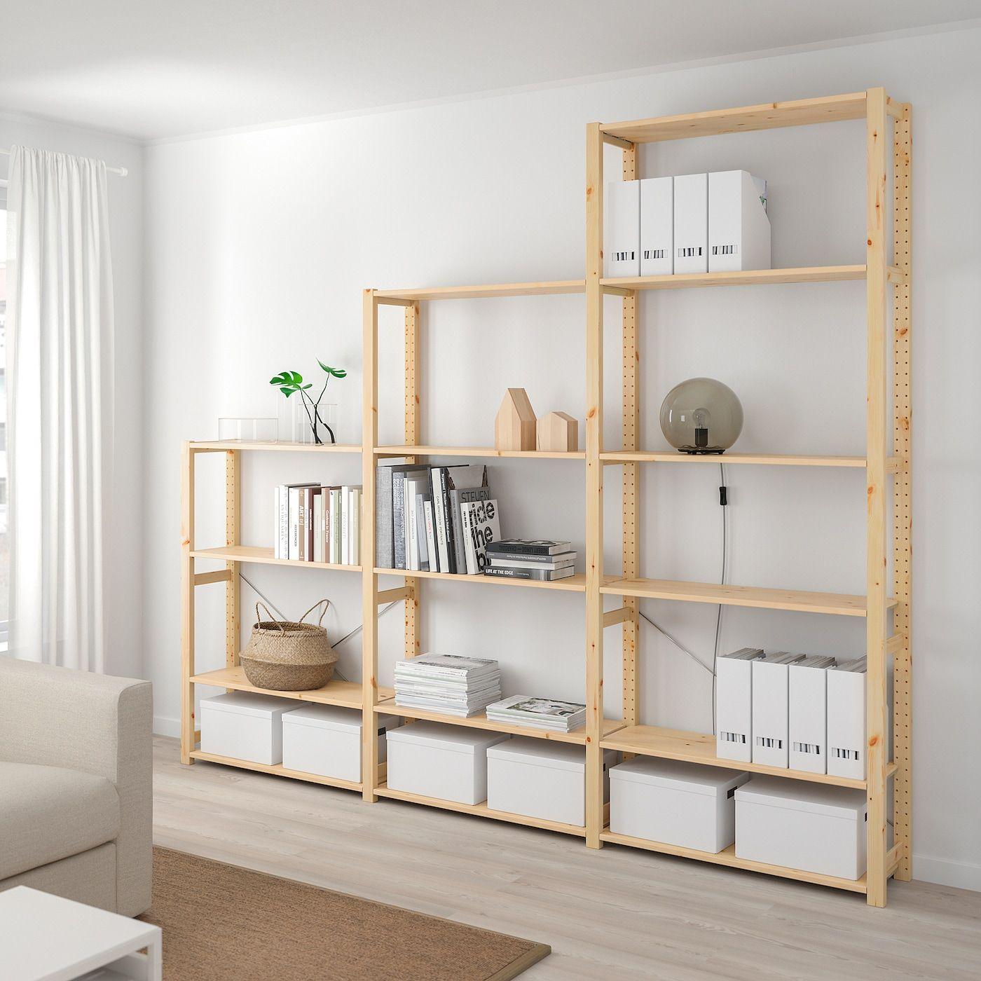 Ikea Ivar Pine 3 Section Shelving Unit In 2020 Cheap Shelving Units Wood Shelving Units Wall Shelving Units