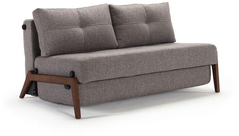 Cubed 02 Deluxe Fabric Sofa Bed Dark Wood Queen Size Sofa