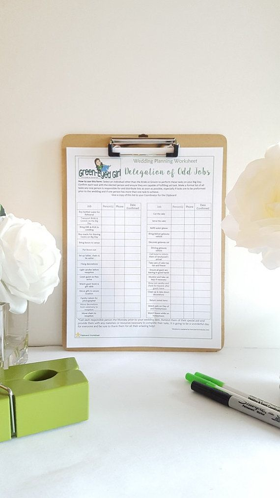 Wedding Day Planning Delegation Worksheet: GEG's Wedding Planning Templates- Digital File PDF, Coordinating, Organizing