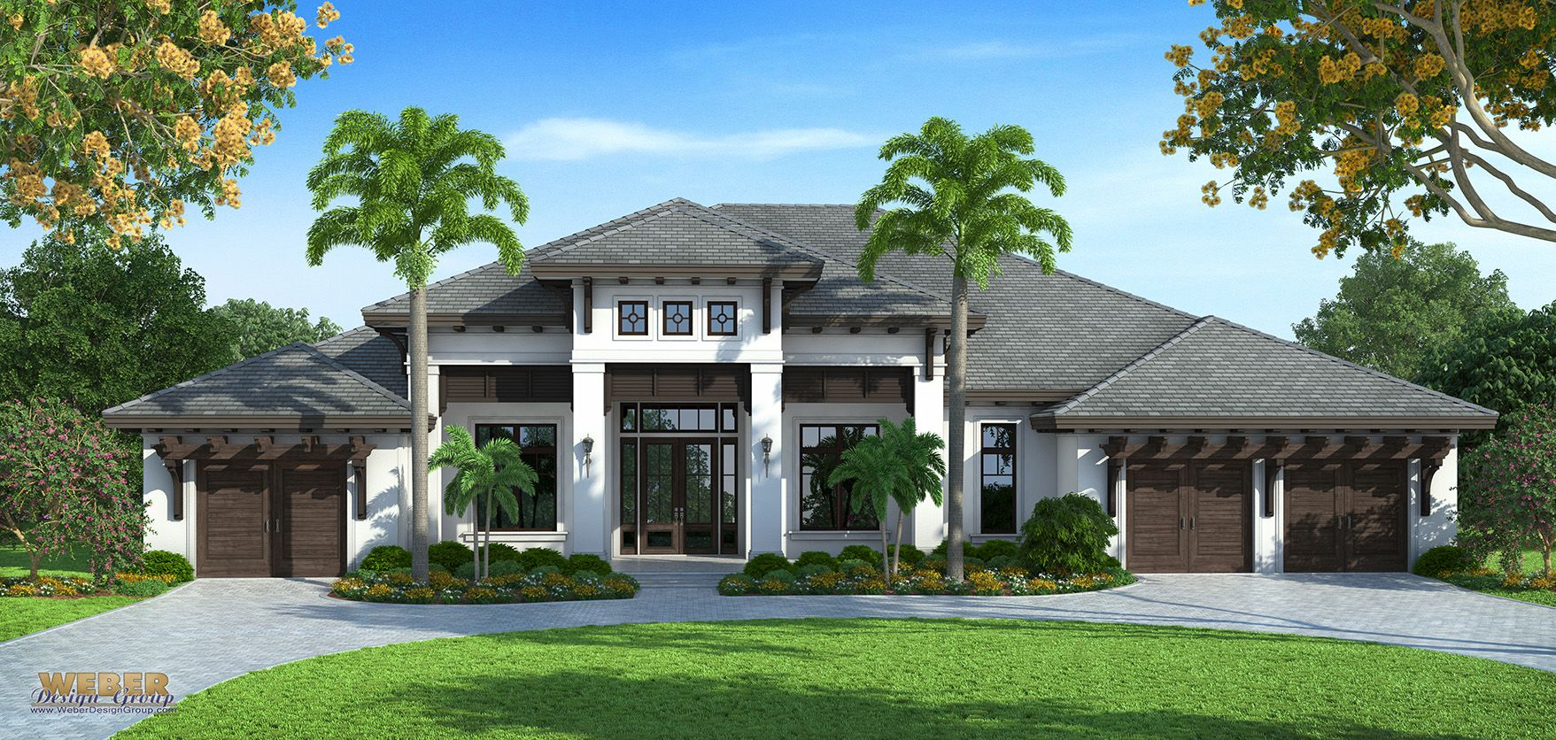 Transitional west indies style house plans by weber design for Group house plans