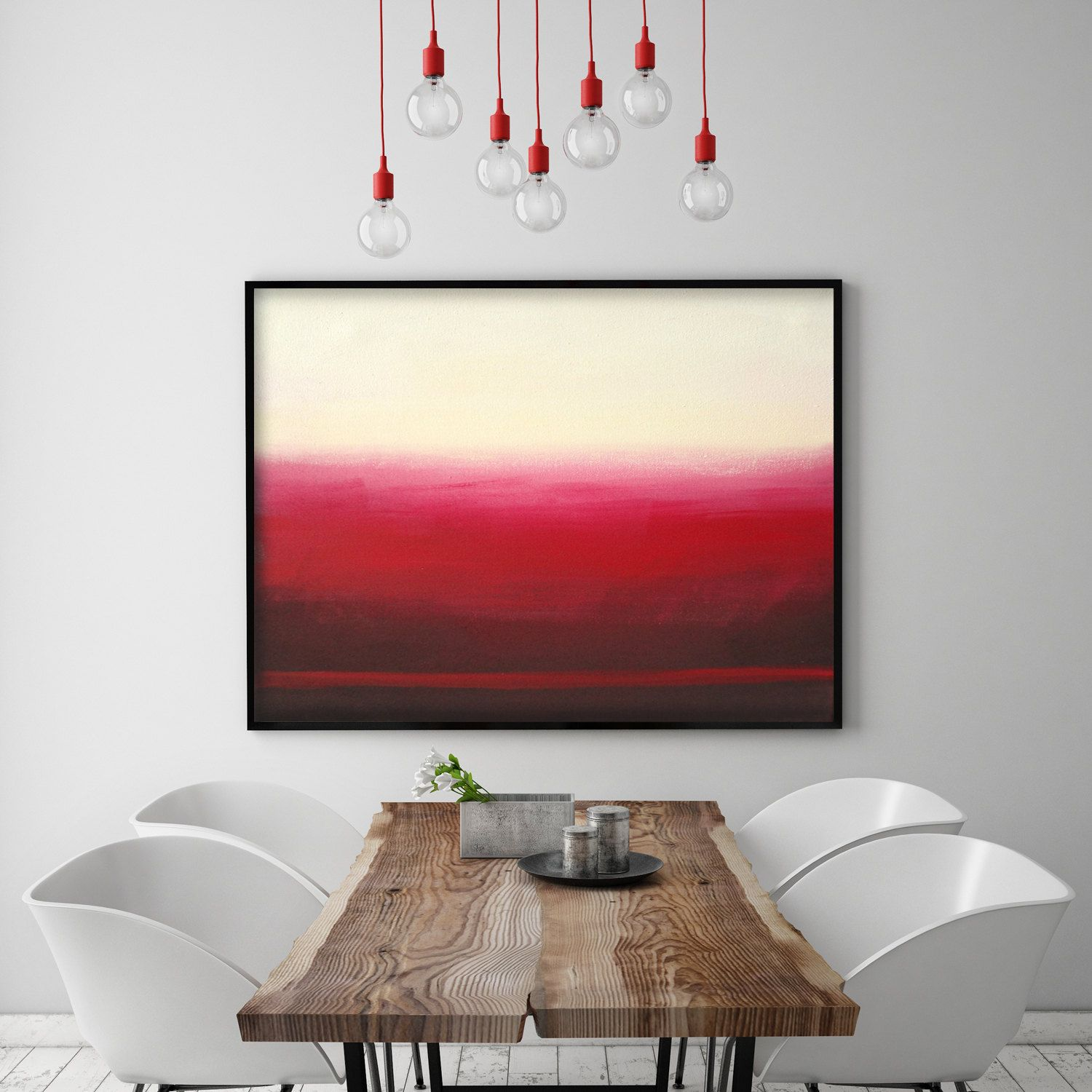 Red Ombre Maroon Ombre Mid Century Minimalist Painting Art Red Etsy Mid Century Modern Art Print Mid Century Modern Art Modern Wall Art #red #paintings #for #living #room