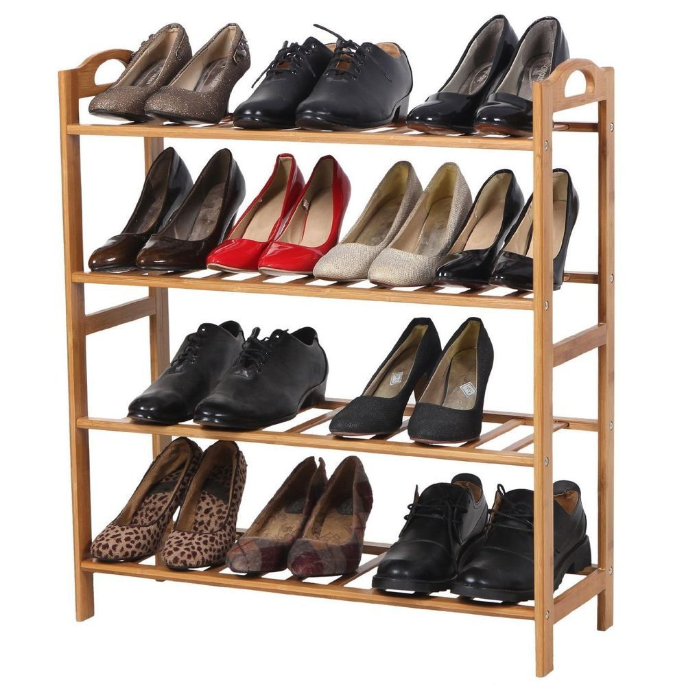 Entryway Shoe Rack 4 Tier Kids Safe Storage Shelf Organizer Hallway Bamboo  Wood