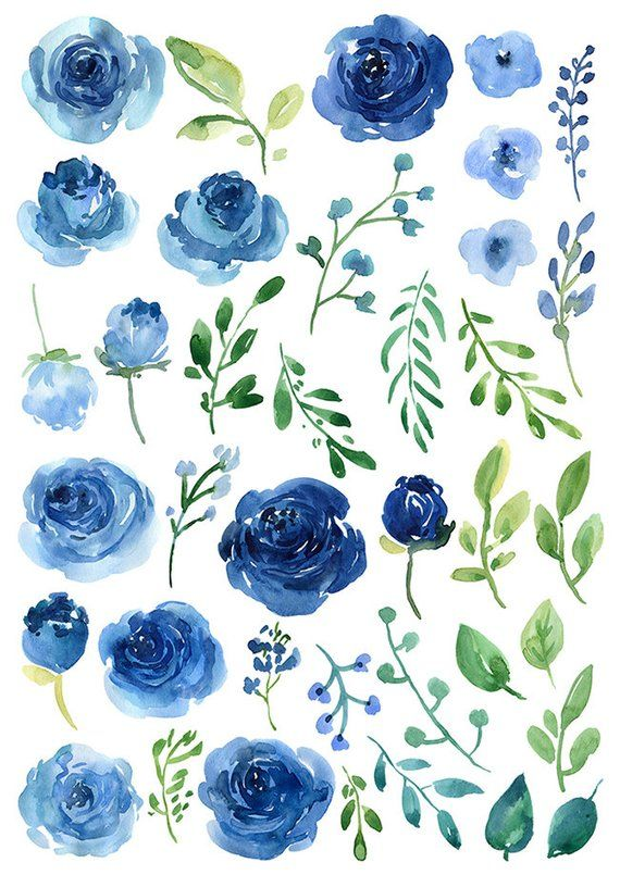 Watercolor Flowers Clipart Blue Roses Leaves Branches Free Etsy Rosas Acuarela Flores Acuarela Hojas De Acuarela