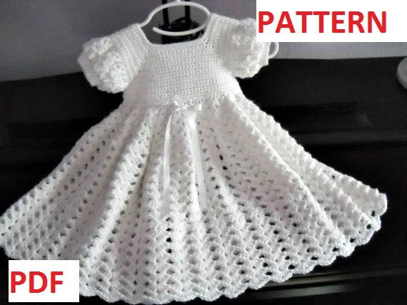Crochet Pattern Infant Baptism Blessing Christening Dress Gown