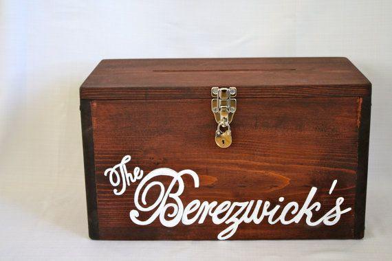 CUSTOM HINGED CARDBOX with lock - Personalized, one-of-a-kind, wooden, rustic, modern, vintage, handmade card box, wedding, graduation. $175.50, via Etsy.