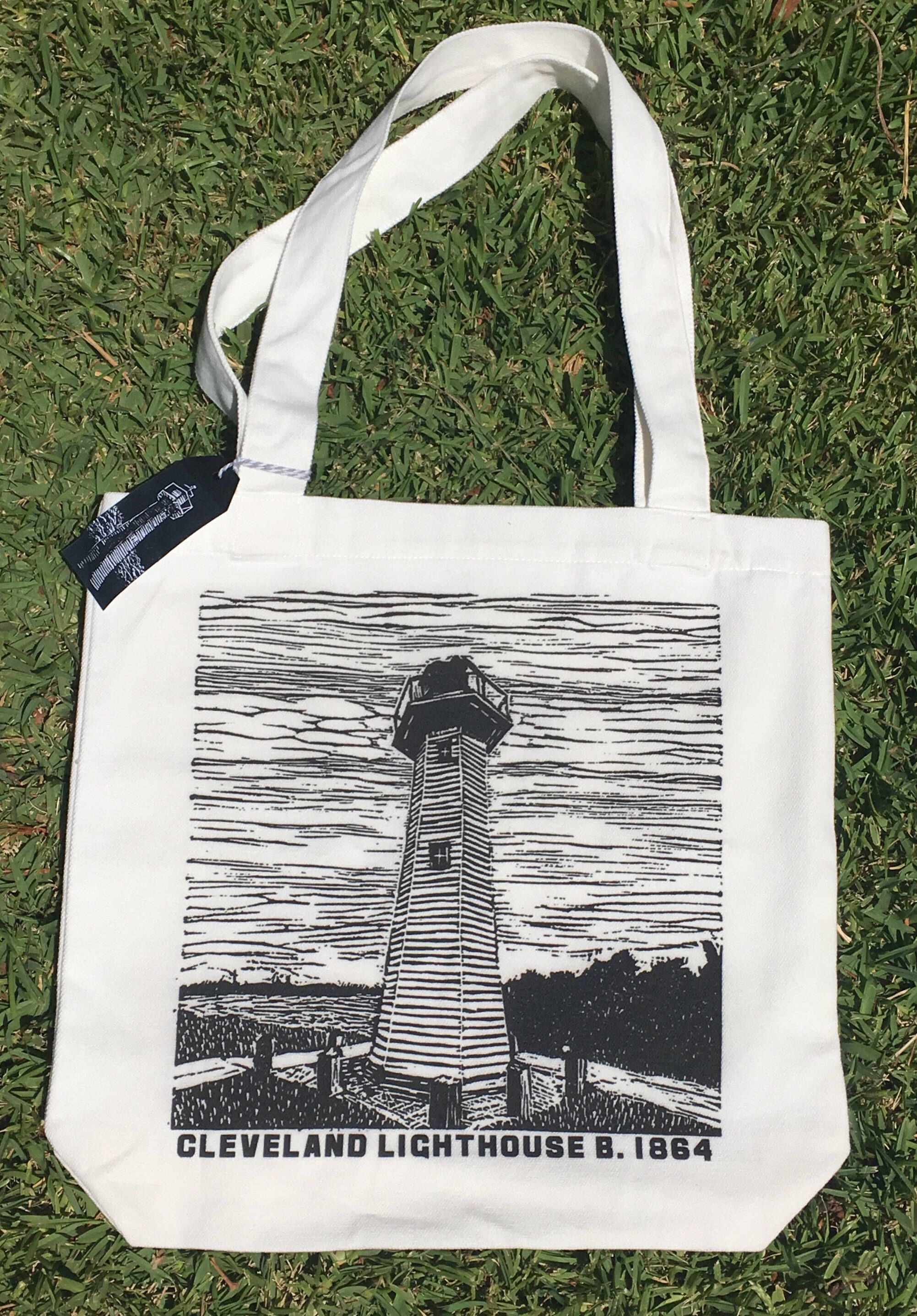 43c4bf0afcb Excited to share the latest addition to my  etsy shop   Cleveland   Lighthouse  Linocut design  Tote Bag  bagsandpurses  offwhite  black  blue   canvas