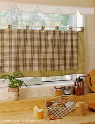 Cottage Curtains Window Treatments | Cafe Curtain In The Window Provides  Privacy For This Kitchen.