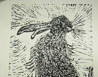 THE HARE - original Linocut print