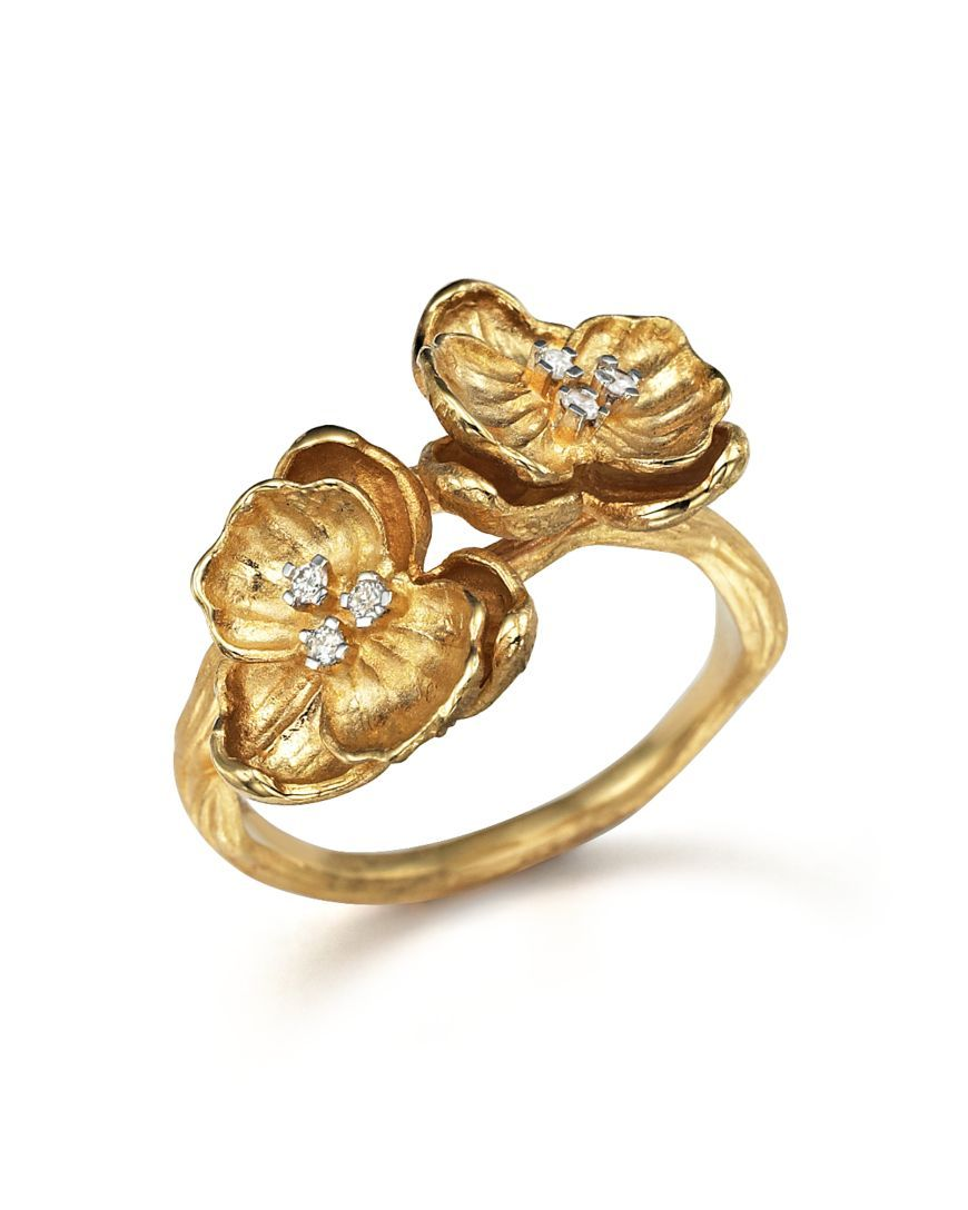 Michael Aram 18K Yellow Gold Small Double Orchid Ring with Diamonds ...