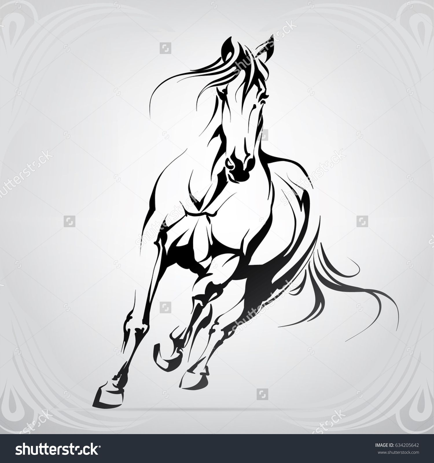 Vector Silhouette Of A Running Horse Horse Silhouette Running