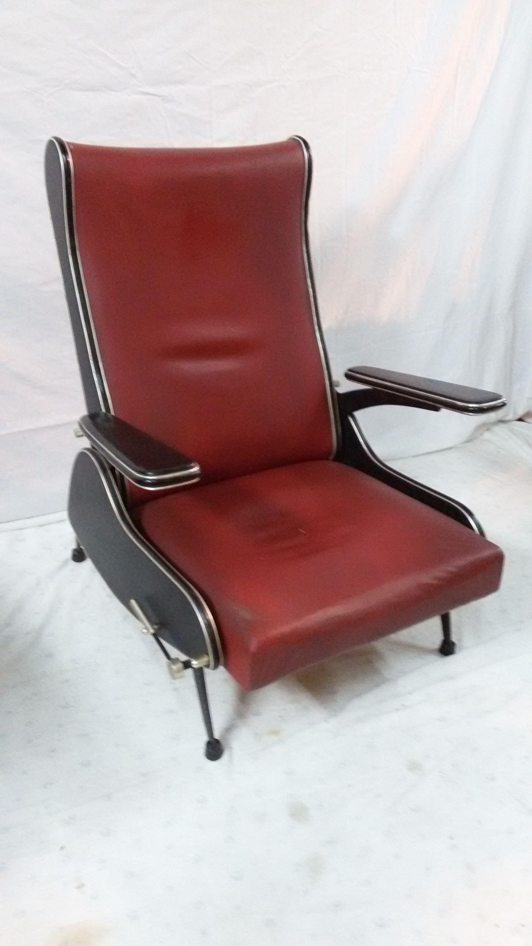 poltrona Armchair reclinabile style Marco Zanuso ANNI 60