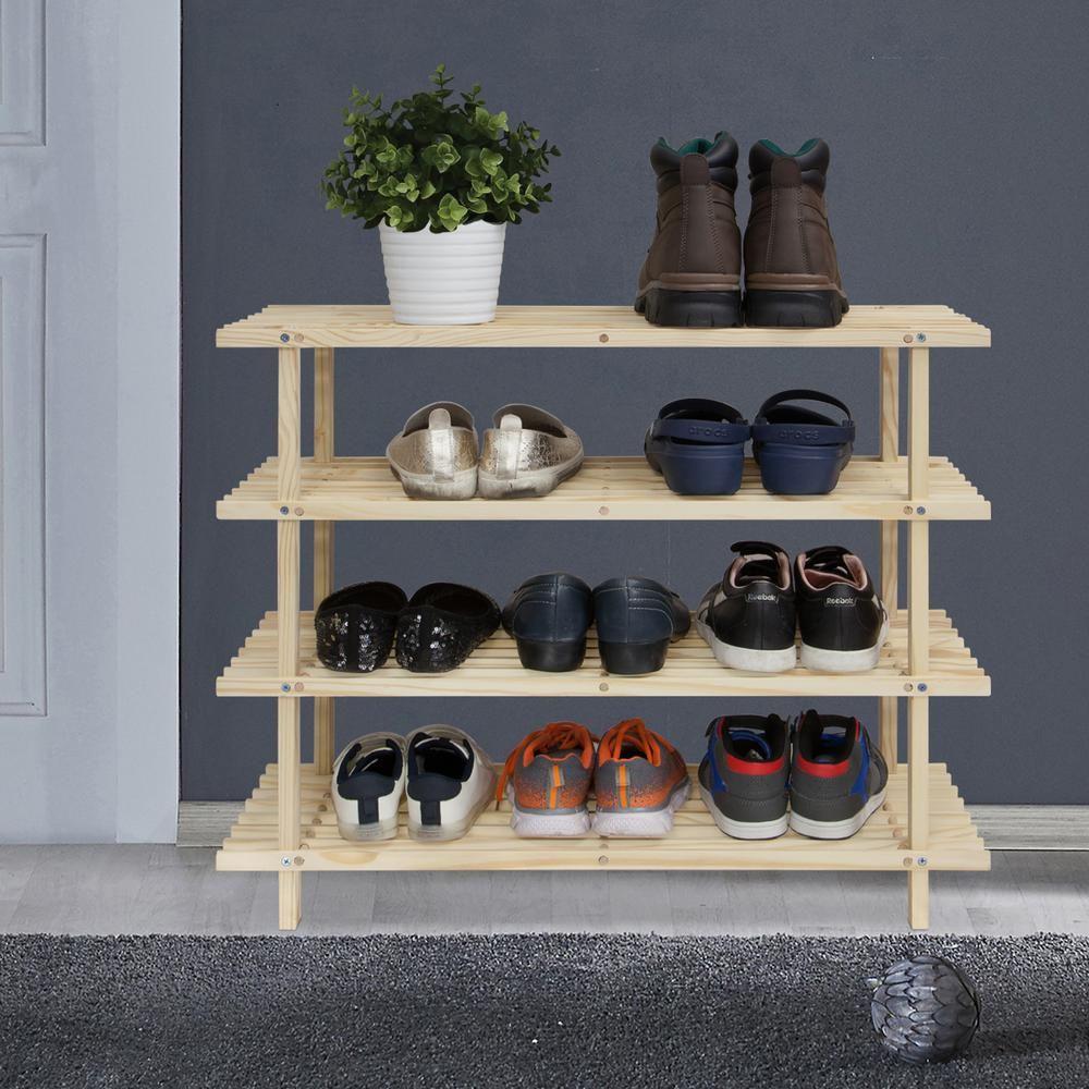 Furinno pine solid wood natural color shelf multipurpose rack
