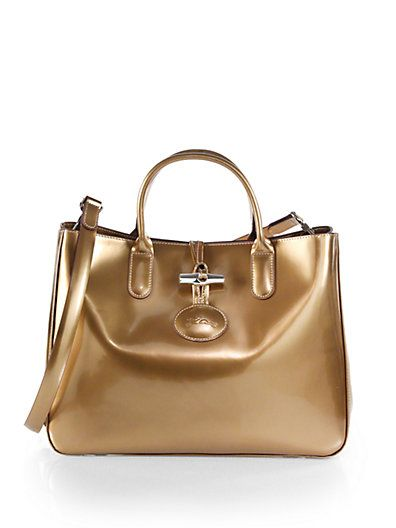 1d0db4407 Longchamp - Roseau Metallic Patent Leather Box Tote with Double Handles and  Detachable Shoulder Strap