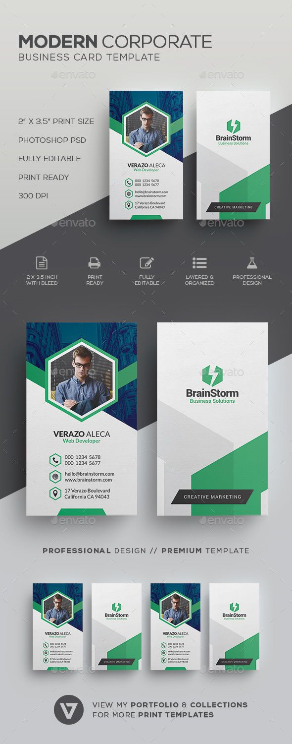 Clean Modern Business Card Template | Card templates, Business cards ...