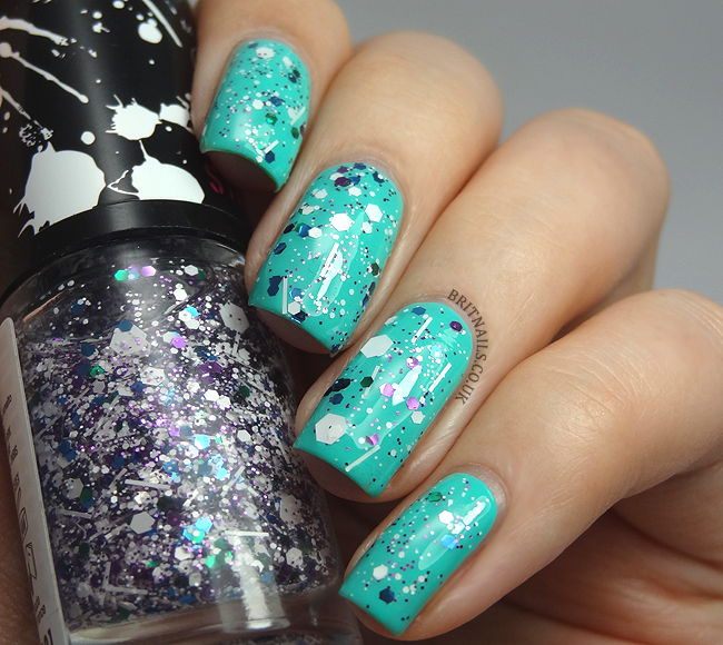 Barry m green berry with maybelline street art white splatter | Nail ...