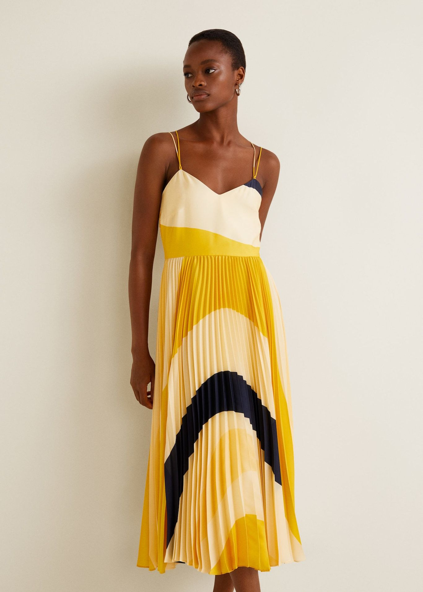 robe plissée jaune mango