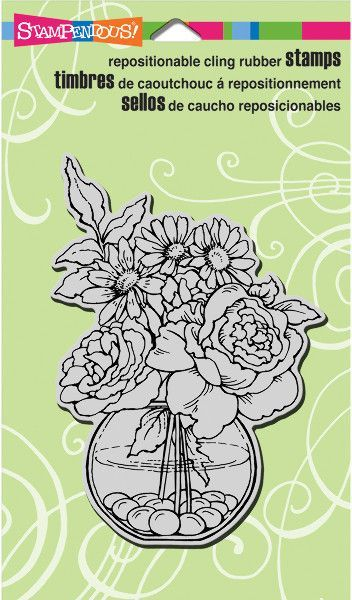 """bowl bouquet cling rubber stamp sheet - 4"""" x 6"""""""