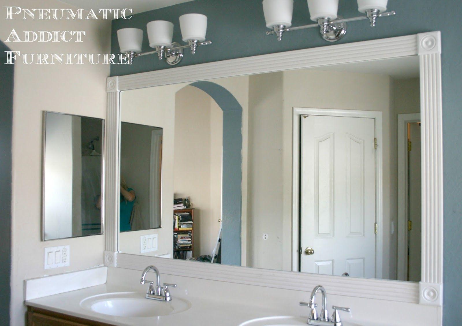 Putting Trim Around Bathroom Mirror Large Bathroom Mirrors Bathroom Mirror Mirror Trim