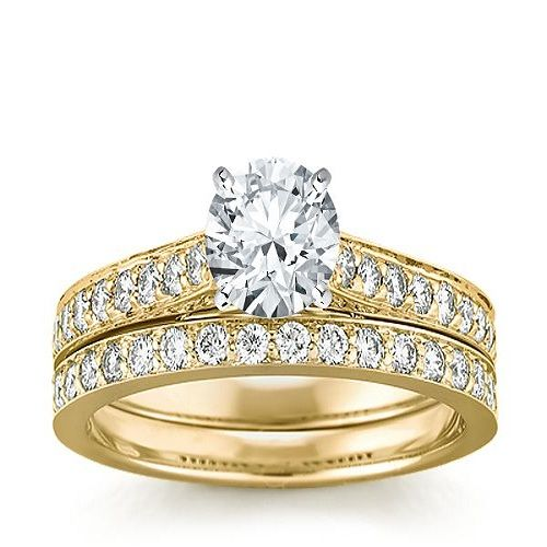incredible ideas engagement gold rings for women two bands wedding finger accessories golden color jewelry crystal diamond - Rings For Wedding