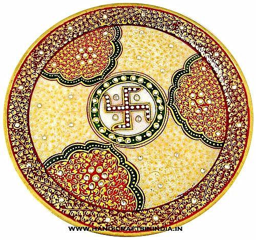 Designer marble pooja thali   Marble Decorative Pooja Thali online