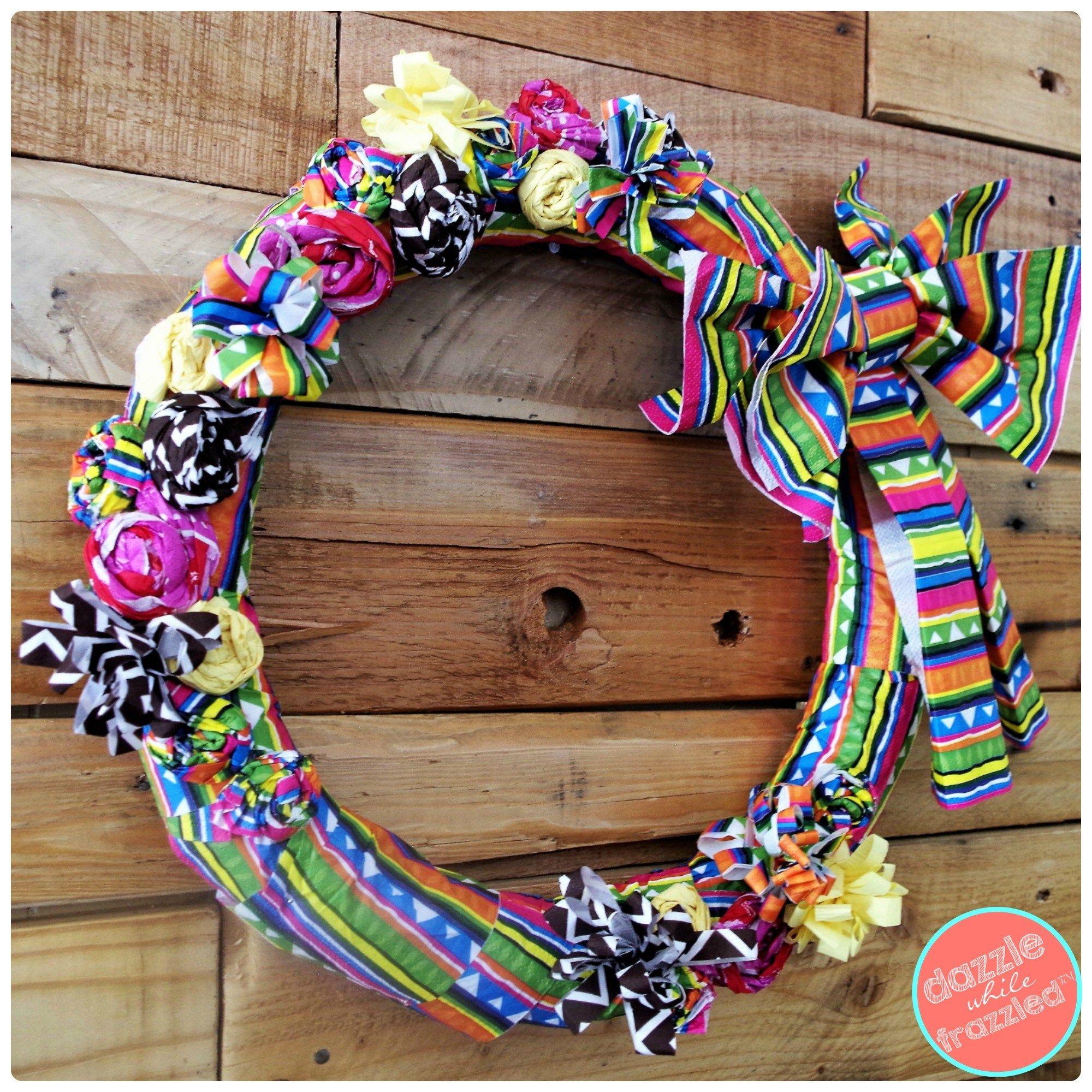 DIY Summertime Fiesta Wreath from Paper Napkins Wreath