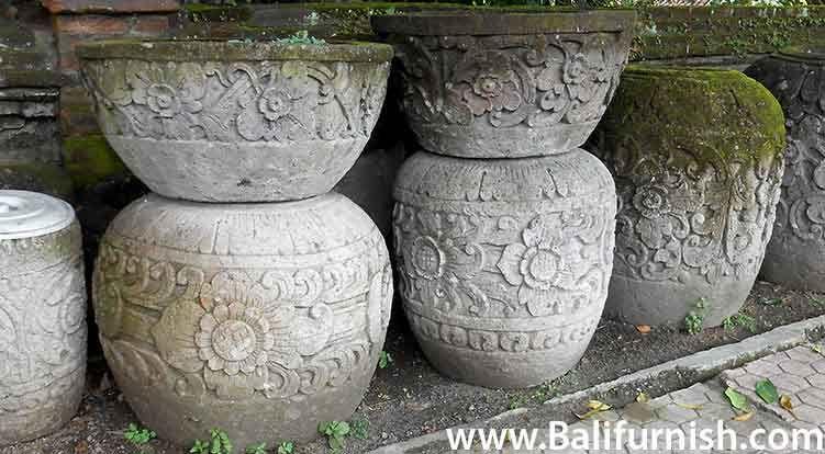 Bali Stone Garden Planters And Pots. Balinese Stone Garden Decors For Your  Tropical Style Garden.