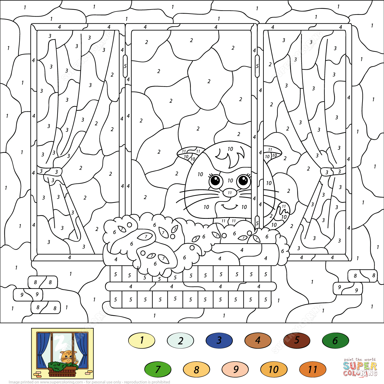 Cat Color By Number Coloring Page