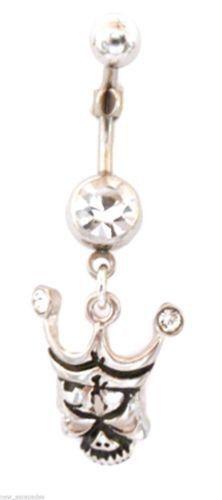 Tiki Skull w/Clear Gem Dangle Naval Belly Body Jewelry