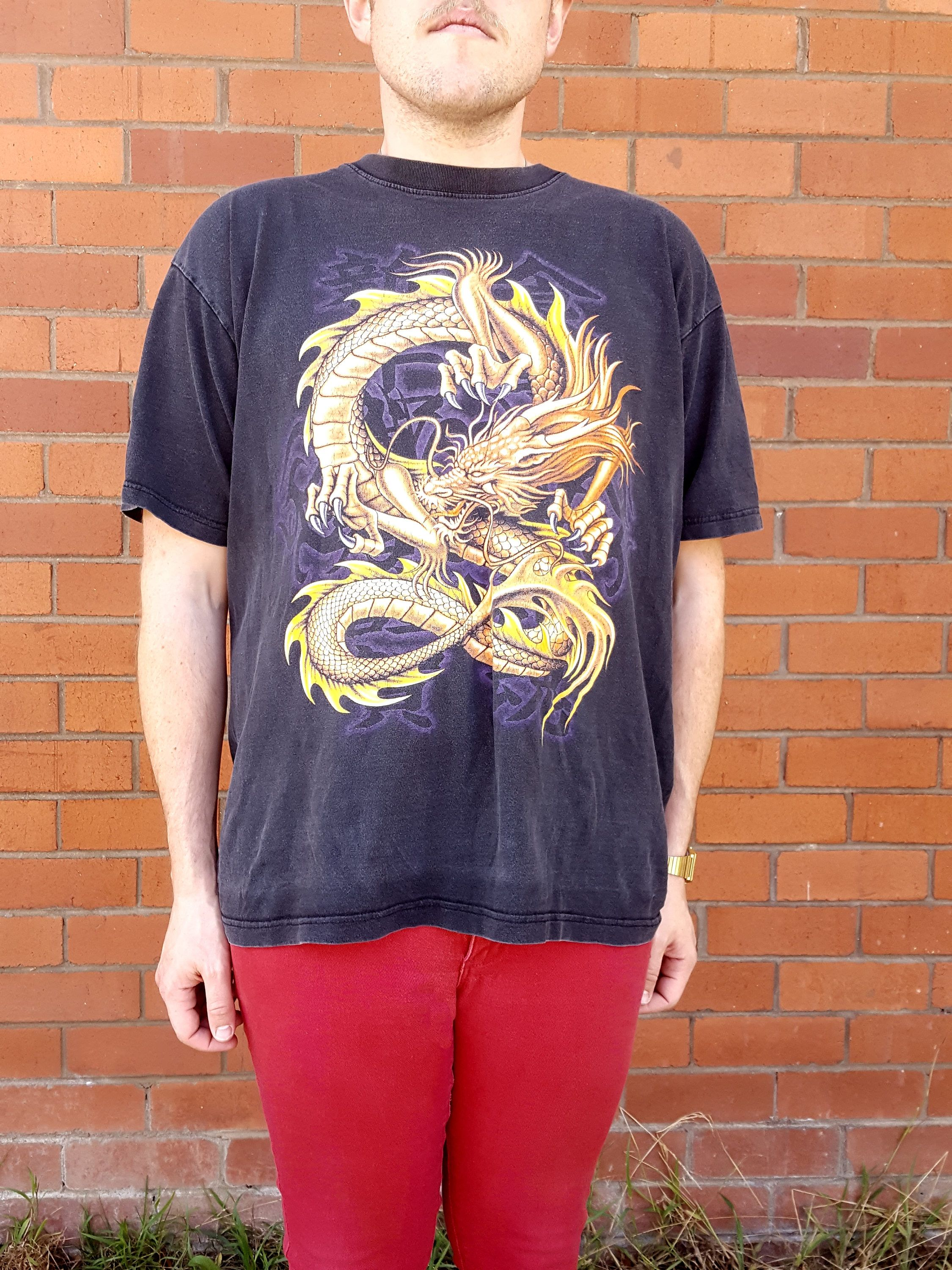 5e7ad4d68bac Vintage 90s Gold Dragon Tribal T Shirt / Distressed / Asian Design / Unisex  / Size Large / by NEONPOINT on Etsy