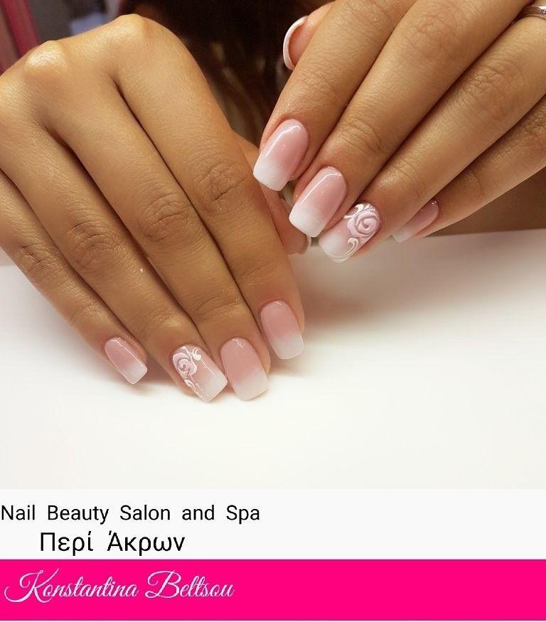 Ombre, Babyboomer, natural nails with gel, square nails, nail art ...