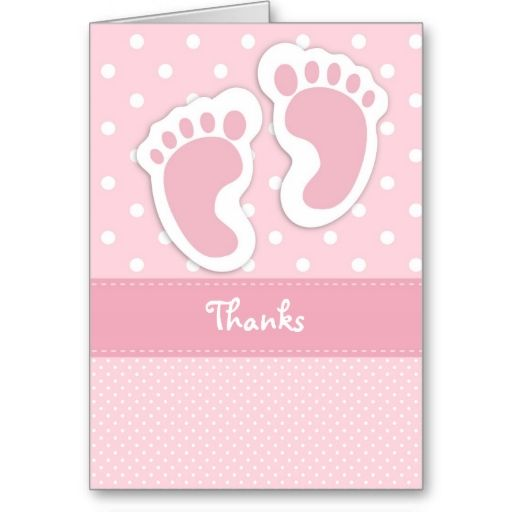 Baby Shower Cards Girls Footprints Pink Baby Footprints Baby Footprints Thank You Cards Baby Shower Thank You Note Card Set