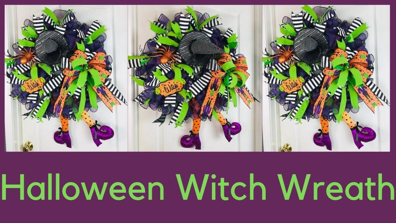 Halloween Deco Mesh Wreath DIY Plus Bow Tutorial Dollar
