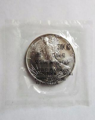 1993 1 Oz Silver American Eagle Choice Uncirculated 63 Silver Silver Bullion Silver Coins