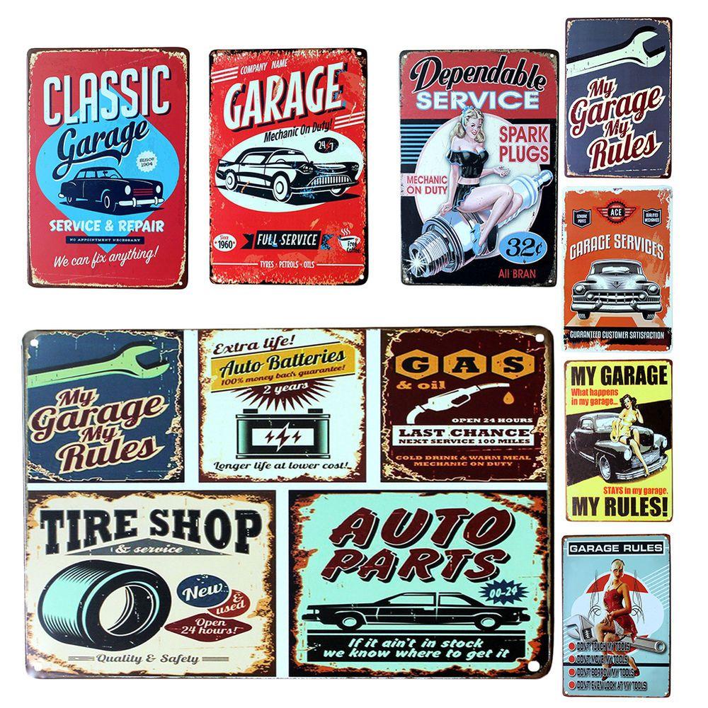 Garage Decor Signs Amusing 20*30Cm Vintage Metal Sign Tin Retro Car Repair Shop Pub Bar Inspiration