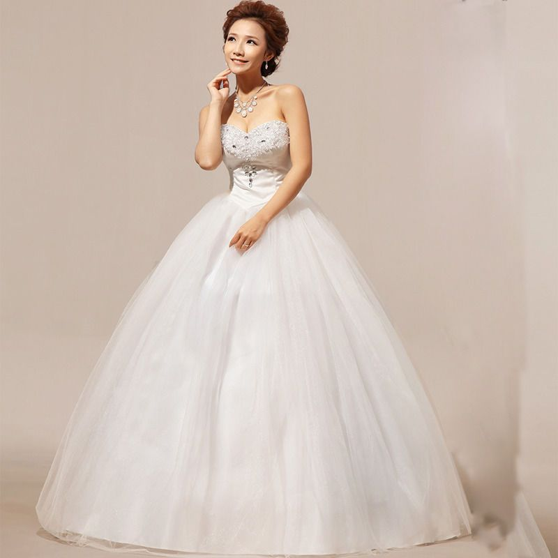 Long Maxi Tube Top Strapless Heart Shape Diamond Bridal Gown Wedding
