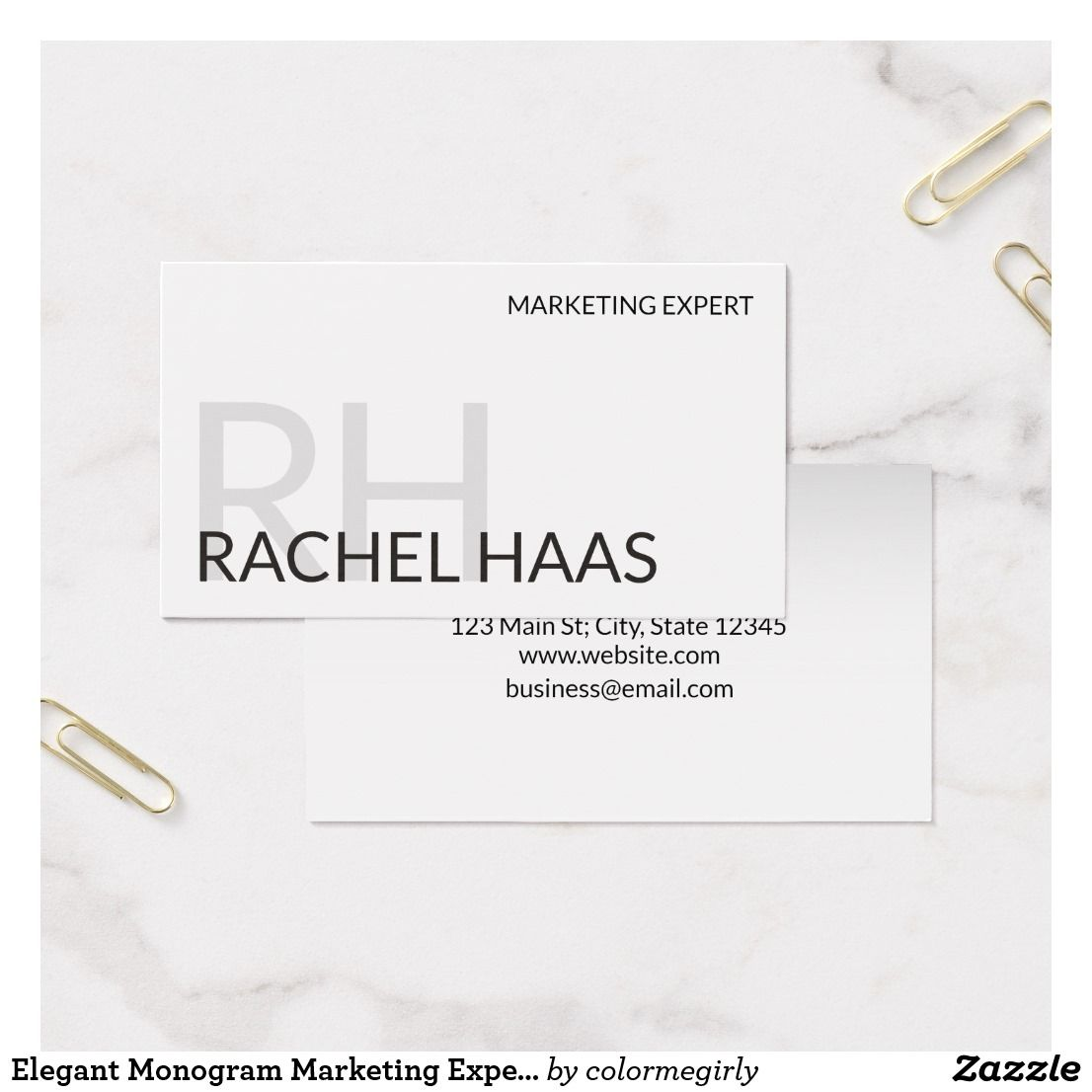Elegant Monogram Marketing Expert Business Card | Office stationery ...