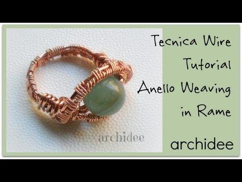 ▶ Tutorial   Tecnica Wire   Weaving   Anello in rame con perla in pietra dura   DIY Ring - YouTube