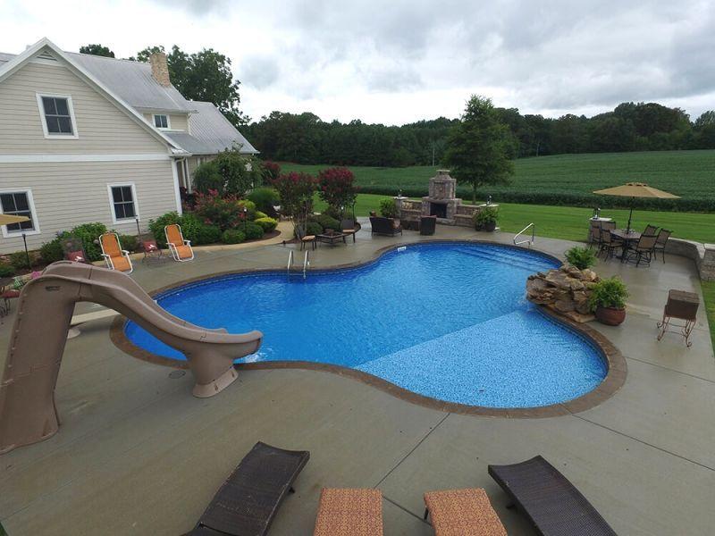 Inground Pool Photos Henderson Inground Pool Gallery Owensboro Freeform Inground Pool With Tanning Ledge Backyard Pool Pools Backyard Inground Cool Pools