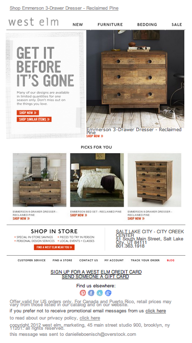 West Elm abandoned cart email 2014 Abandoned Cart Low Inventory