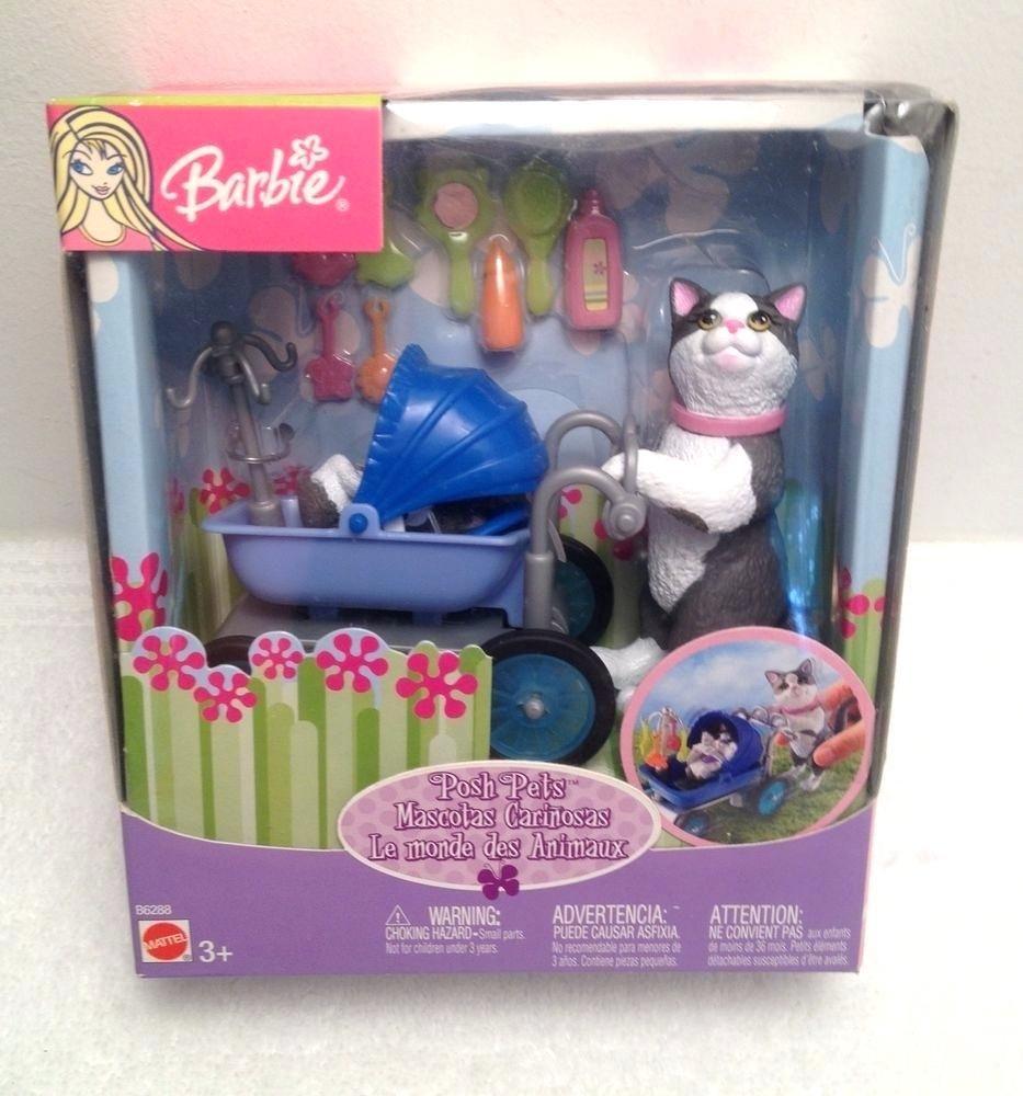 Spann Kinderwagen Seltene Barbie Posh Pets Grau Weisse Katze Mama Drucken Katzchen Im Kinderwagen B Fahrradanhange Barbie Cat Grey And White Cat Pregnant Barbie