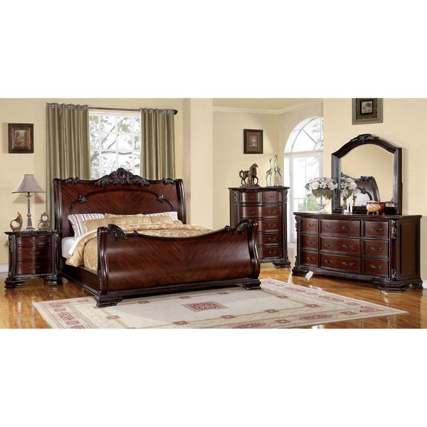 Cherry Bedroom Furniture Traditional furniture of america luxury brown cherry 4-piece baroque style