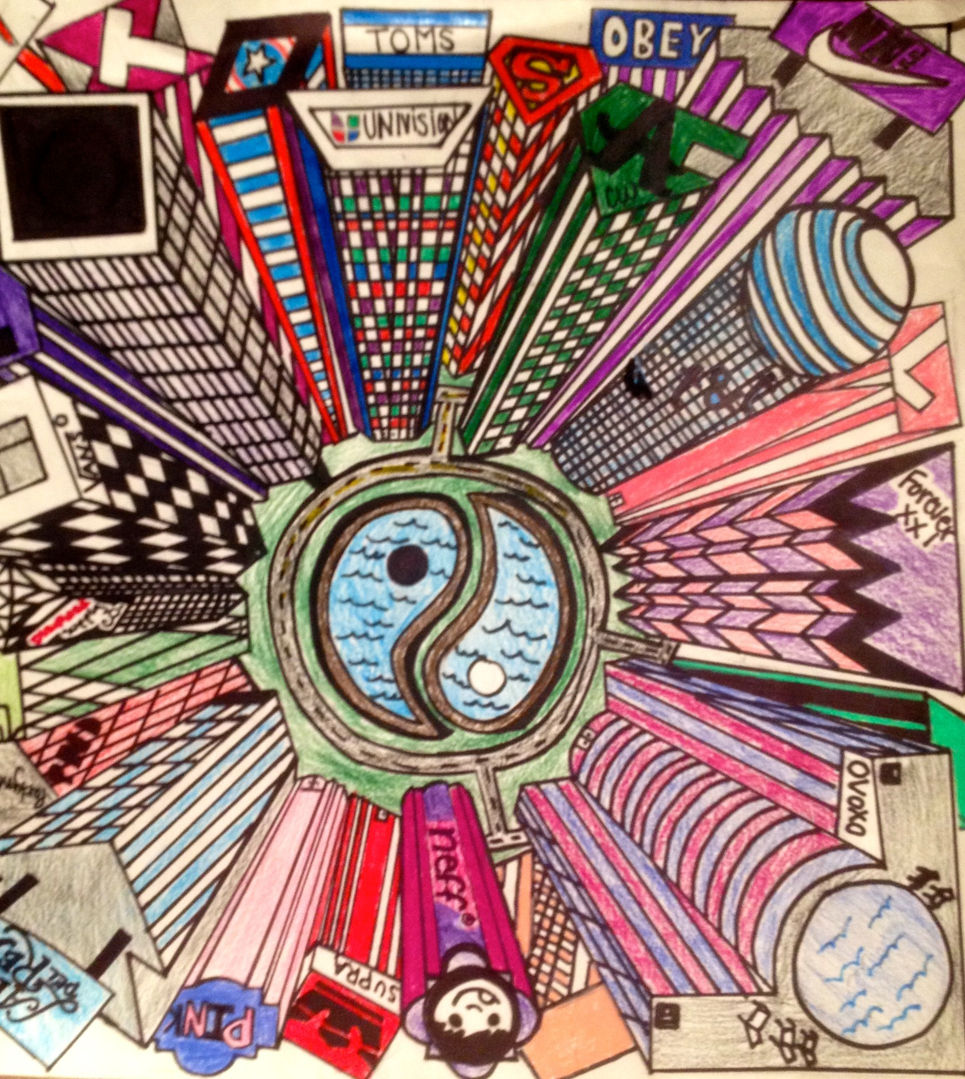 1 Point Perspective Birds Eye View 7th Grade