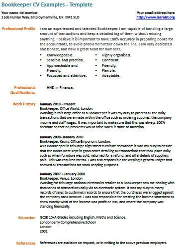 Bookkeeper Cv Example Cv Examples Resume Examples Job